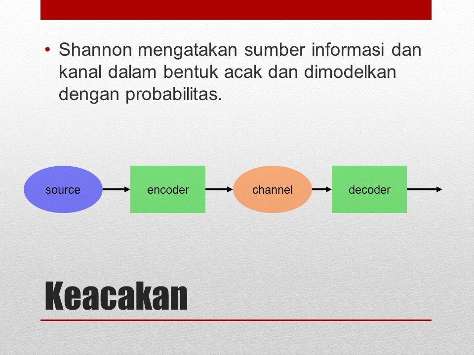 Shannon mengatakan sumber informasi dan kanal dalam bentuk acak dan dimodelkan dengan probabilitas.