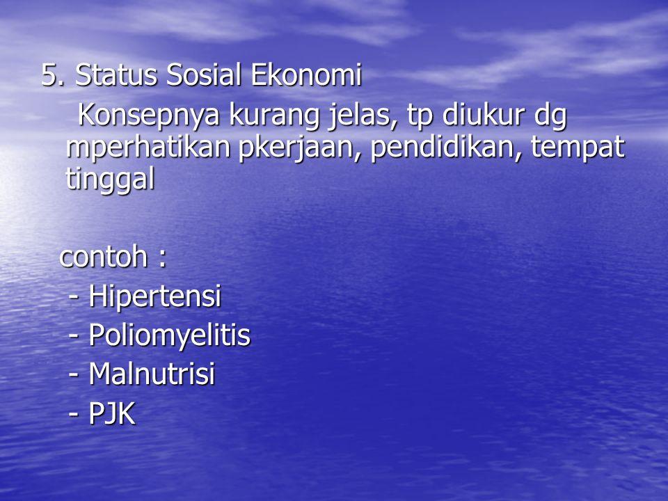 5. Status Sosial Ekonomi Konsepnya kurang jelas, tp diukur dg mperhatikan pkerjaan, pendidikan, tempat tinggal.