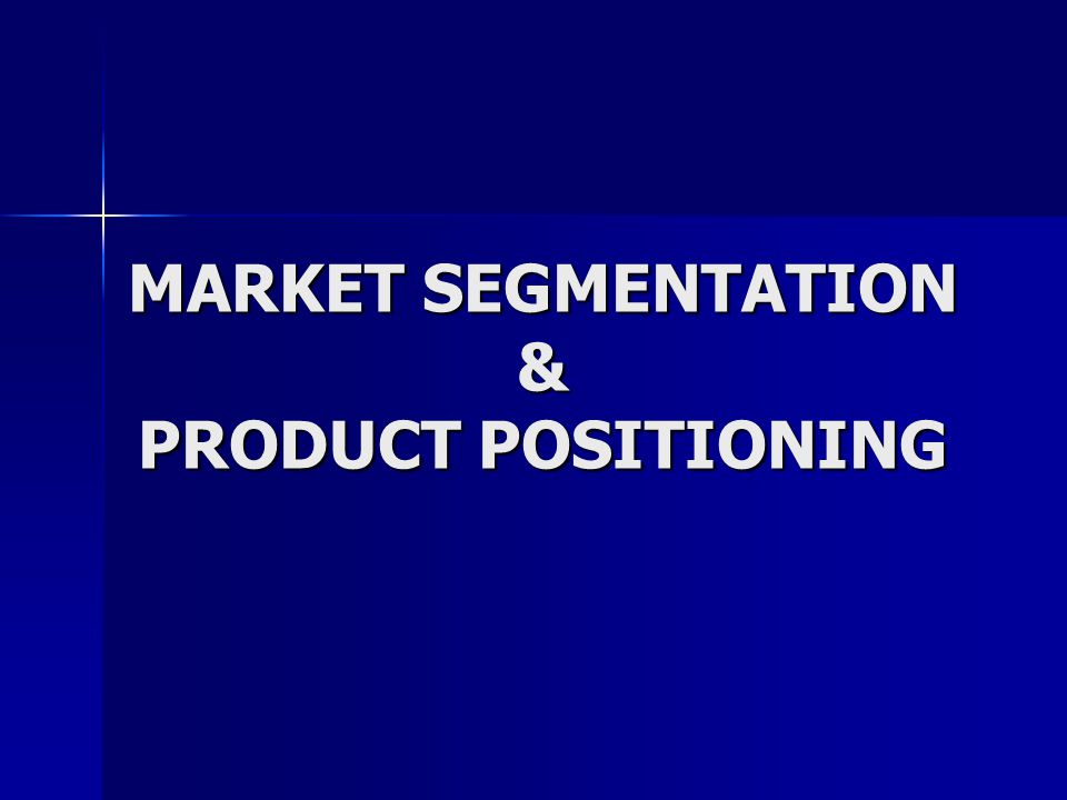 MARKET SEGMENTATION & PRODUCT POSITIONING