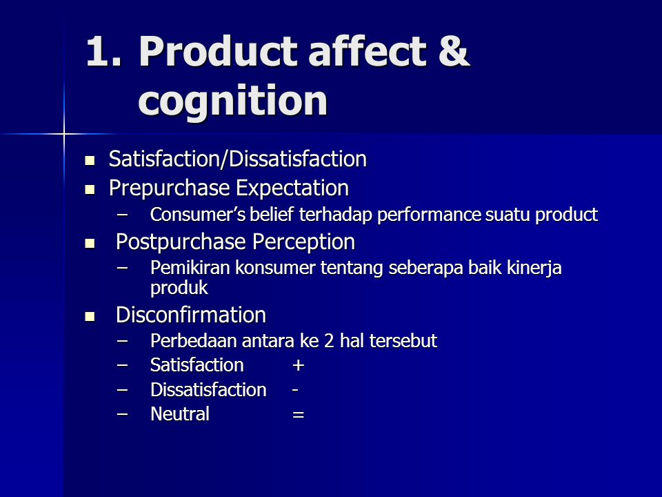 1. Product affect & cognition