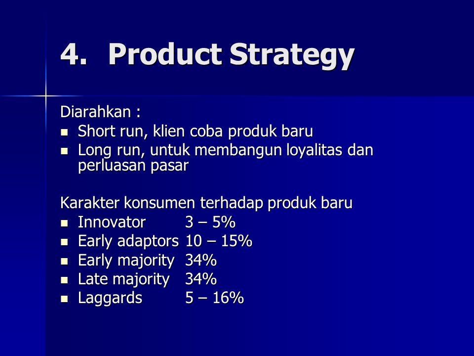 4. Product Strategy Diarahkan : Short run, klien coba produk baru