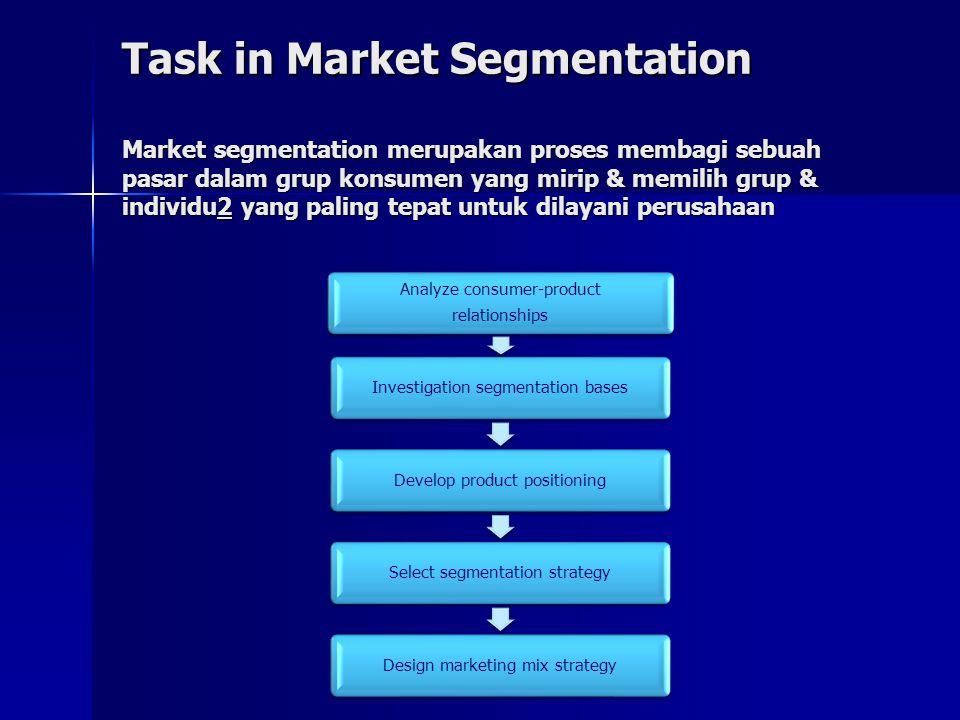 Task in Market Segmentation Market segmentation merupakan proses membagi sebuah pasar dalam grup konsumen yang mirip & memilih grup & individu2 yang paling tepat untuk dilayani perusahaan