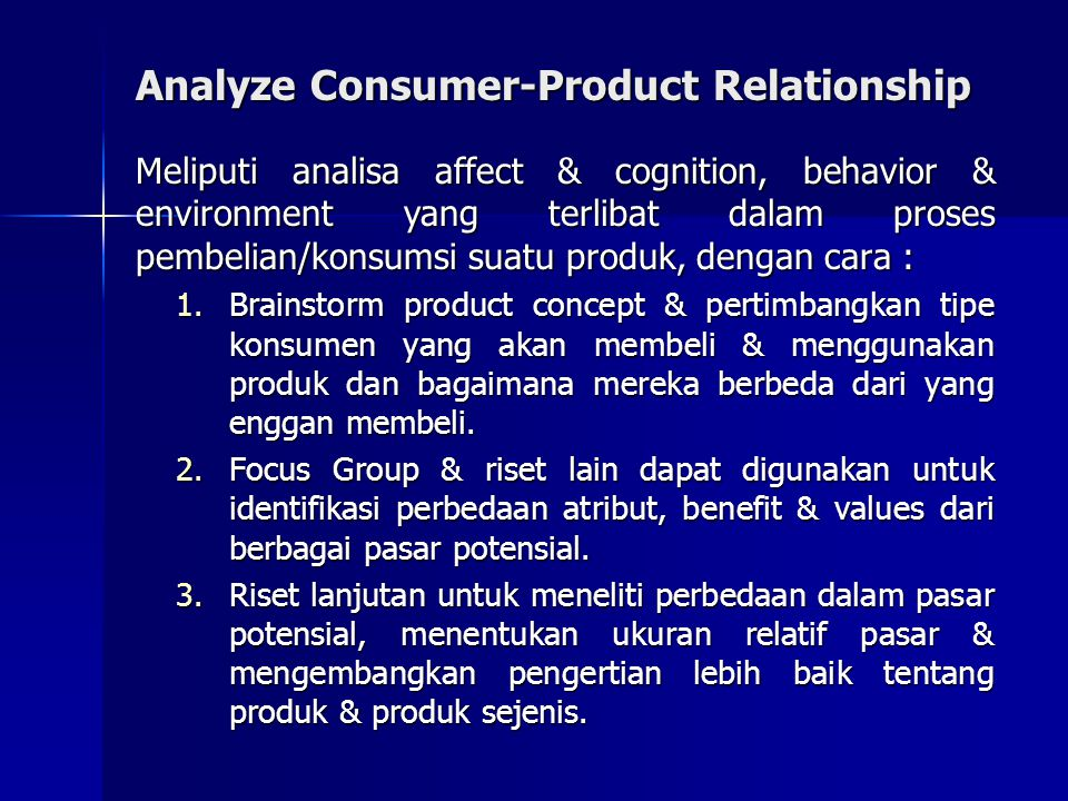 Analyze Consumer-Product Relationship