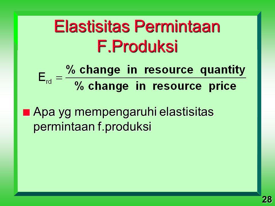 Elastisitas Permintaan F.Produksi