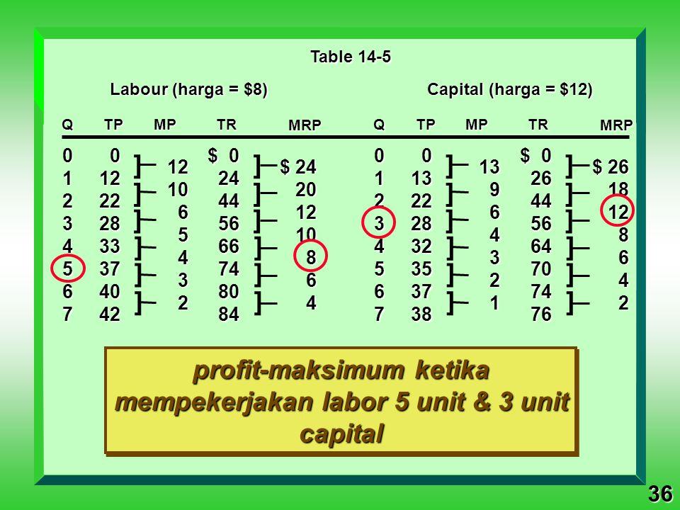 profit-maksimum ketika mempekerjakan labor 5 unit & 3 unit capital