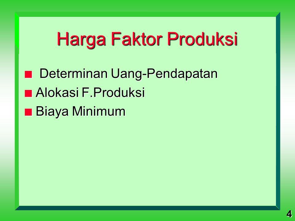 Harga Faktor Produksi Determinan Uang-Pendapatan Alokasi F.Produksi