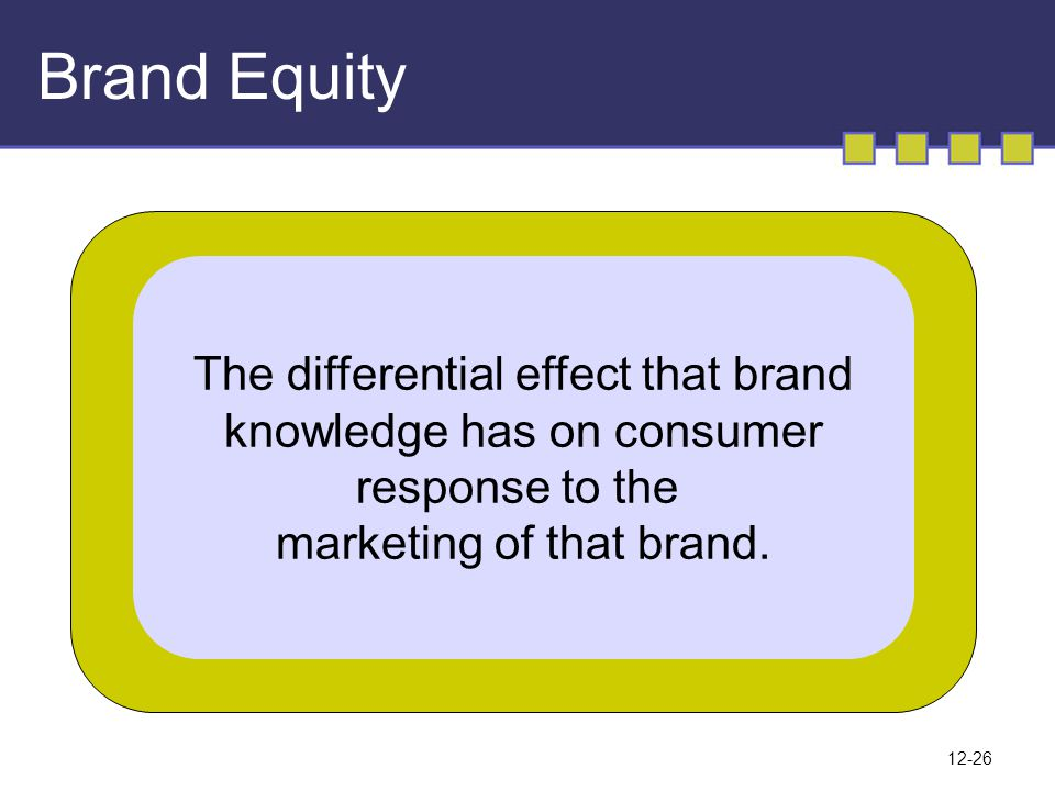 Brand Equity The differential effect that brand
