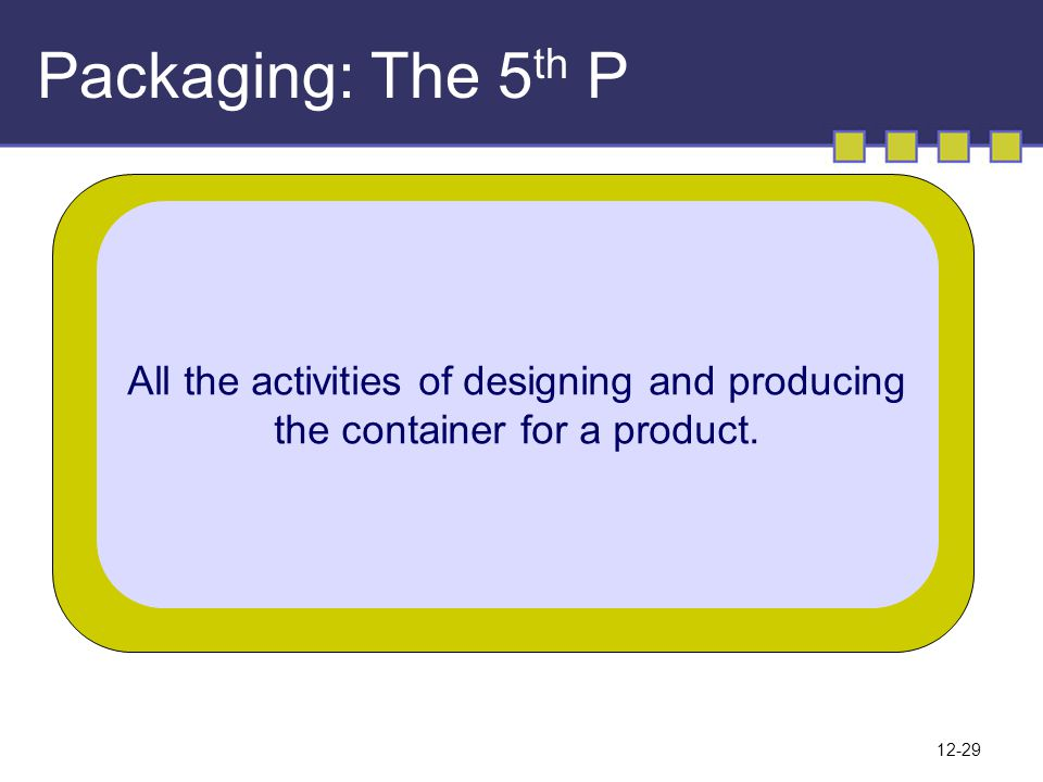 Packaging: The 5th P All the activities of designing and producing