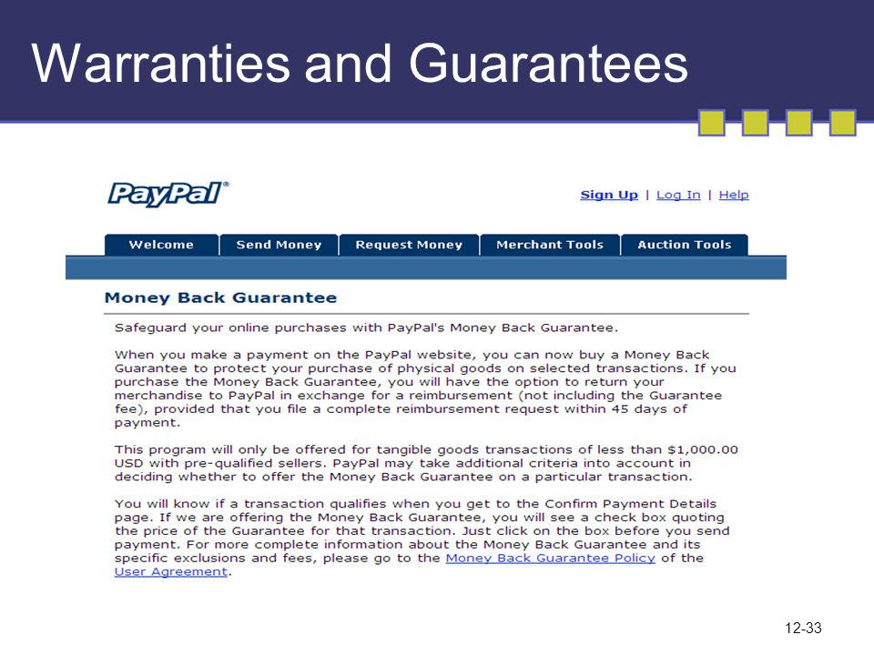 Warranties and Guarantees