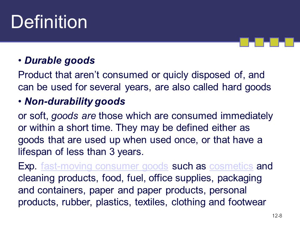 Definition Durable goods