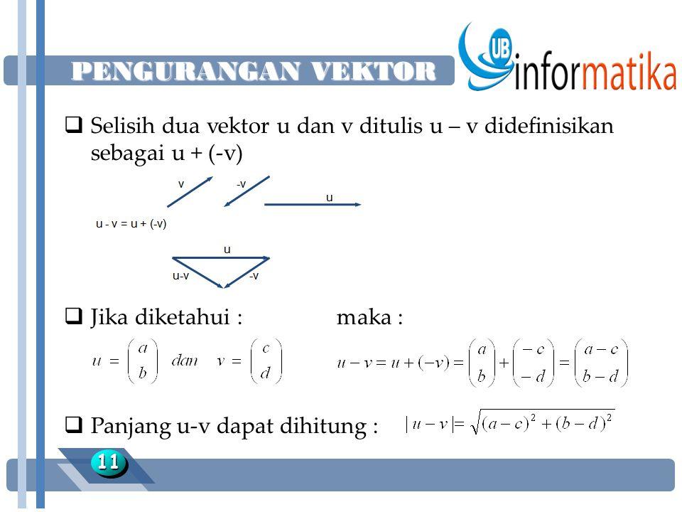 PENGURANGAN VEKTOR Selisih dua vektor u dan v ditulis u – v didefinisikan sebagai u + (-v) Jika diketahui : maka :