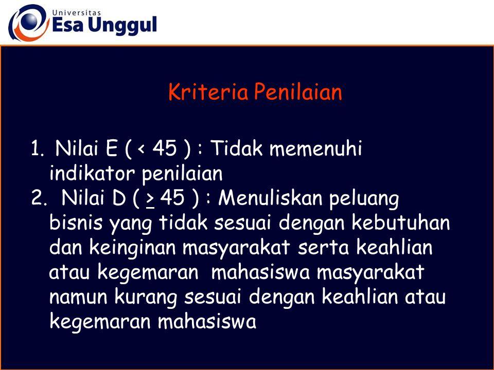 Kriteria Penilaian Nilai E ( < 45 ) : Tidak memenuhi indikator penilaian.