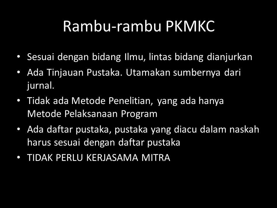 Rambu-rambu PKMKC Sesuai dengan bidang Ilmu, lintas bidang dianjurkan