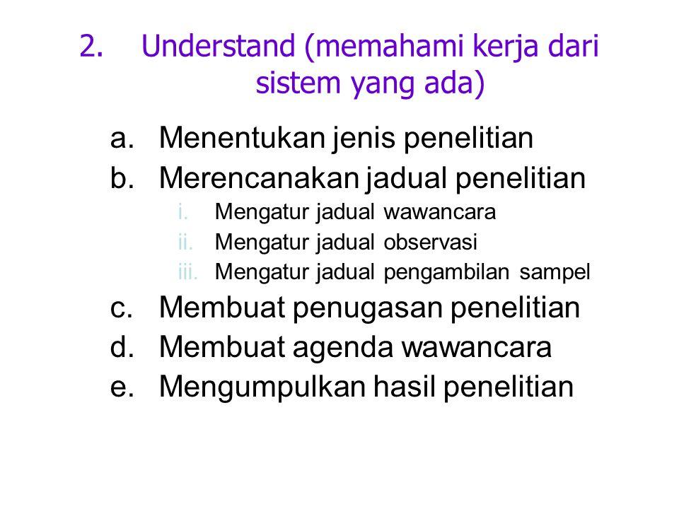 Understand (memahami kerja dari sistem yang ada)