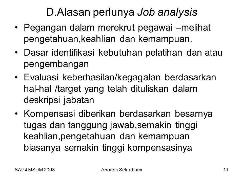D.Alasan perlunya Job analysis