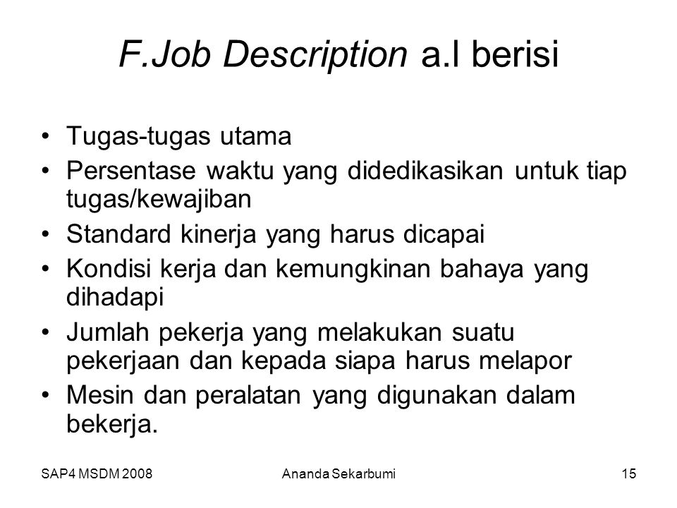 F.Job Description a.l berisi