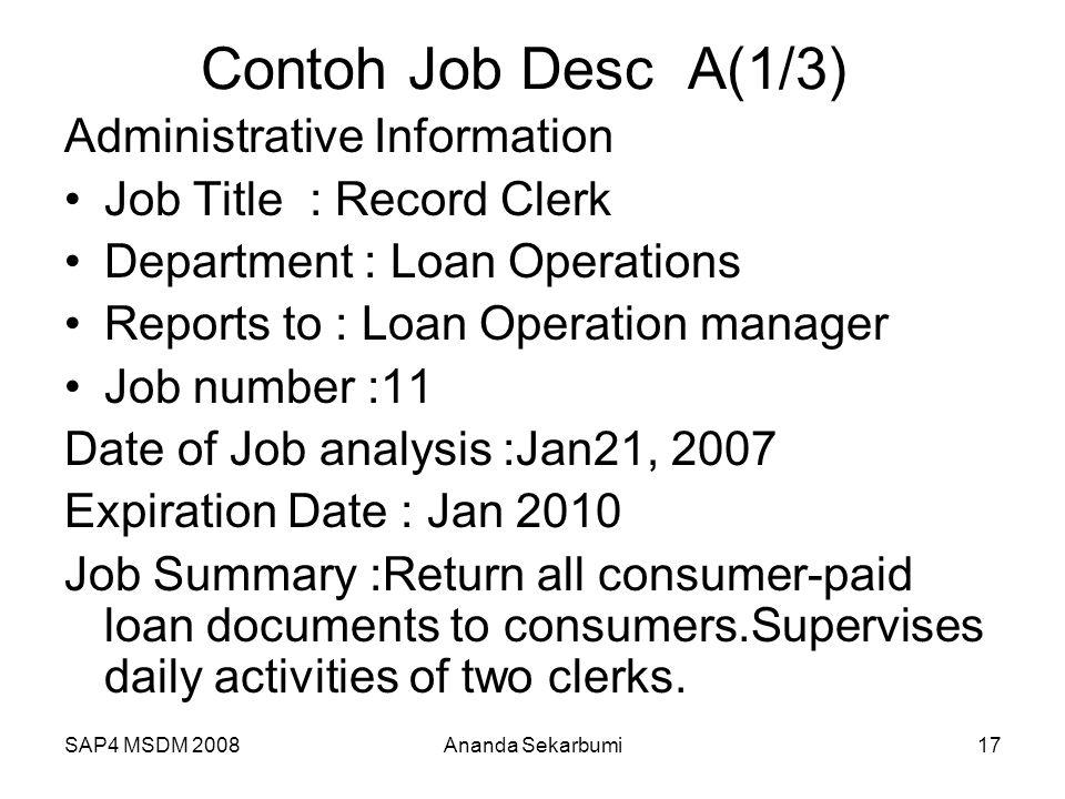 Contoh Job Desc A(1/3) Administrative Information