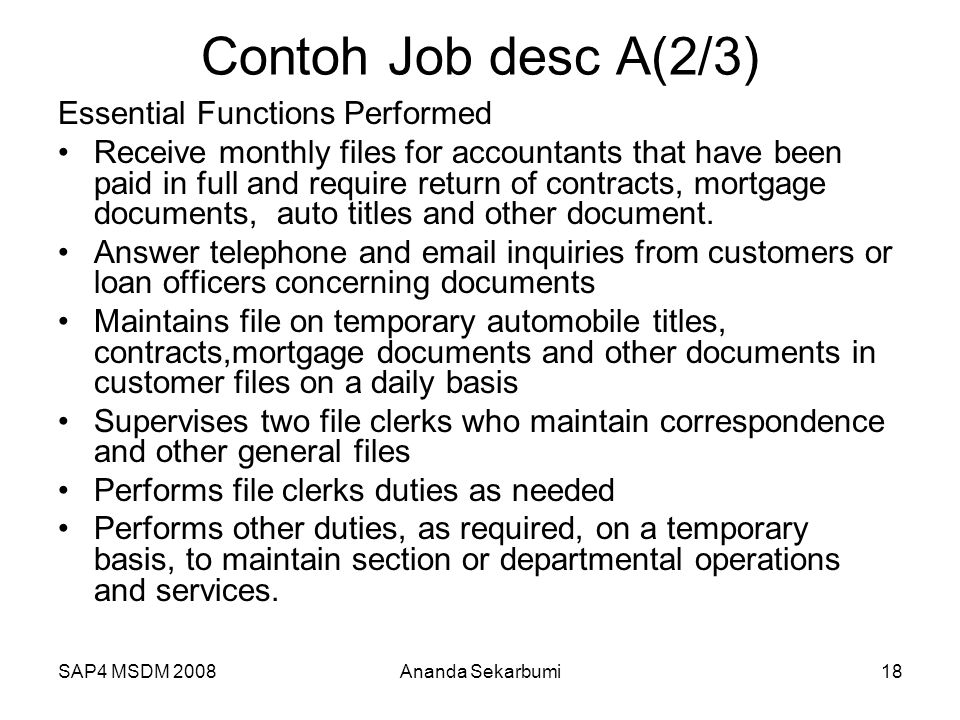 Contoh Job desc A(2/3) Essential Functions Performed