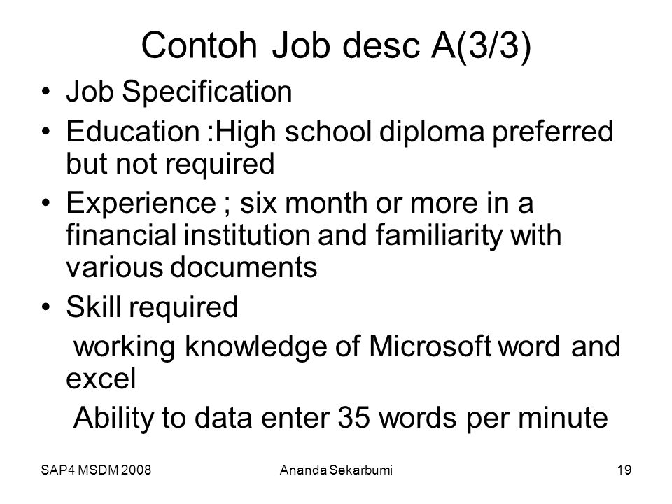 Contoh Job desc A(3/3) Job Specification