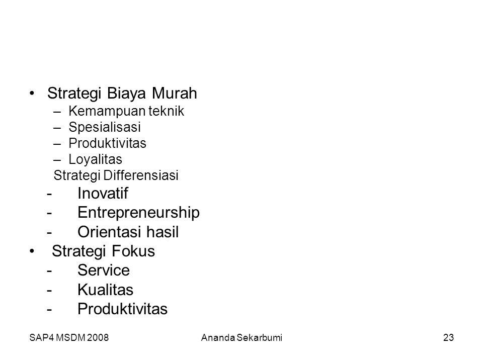 Strategi Biaya Murah - Inovatif - Entrepreneurship - Orientasi hasil