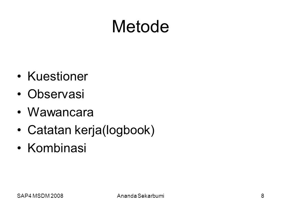 Metode Kuestioner Observasi Wawancara Catatan kerja(logbook) Kombinasi