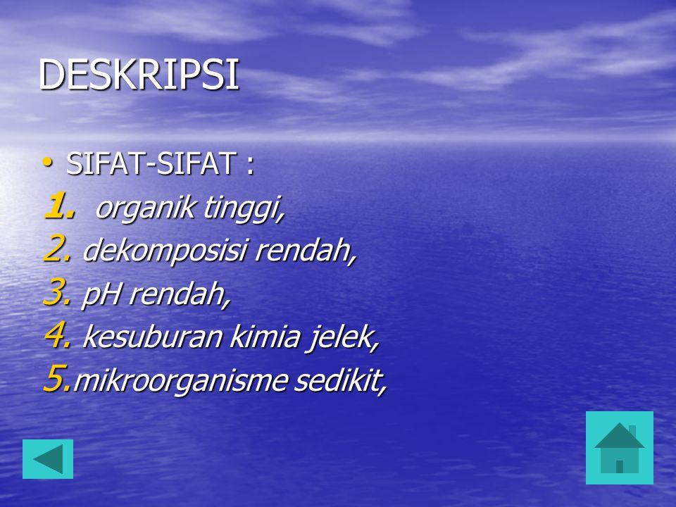 DESKRIPSI SIFAT-SIFAT : organik tinggi, dekomposisi rendah, pH rendah,