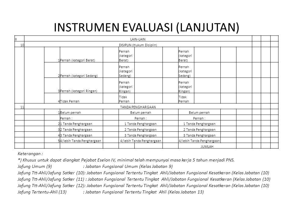 INSTRUMEN EVALUASI (LANJUTAN)