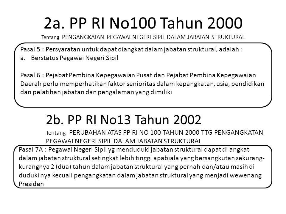 2a. PP RI No100 Tahun 2000 Tentang PENGANGKATAN PEGAWAI NEGERI SIPIL DALAM JABATAN STRUKTURAL