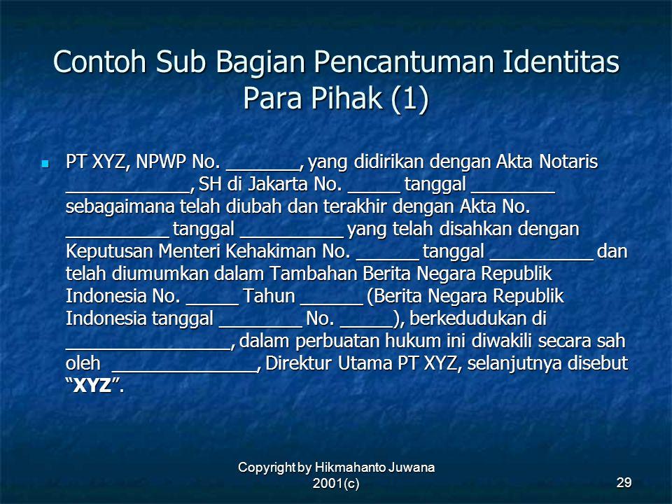 Contoh Sub Bagian Pencantuman Identitas Para Pihak (1)