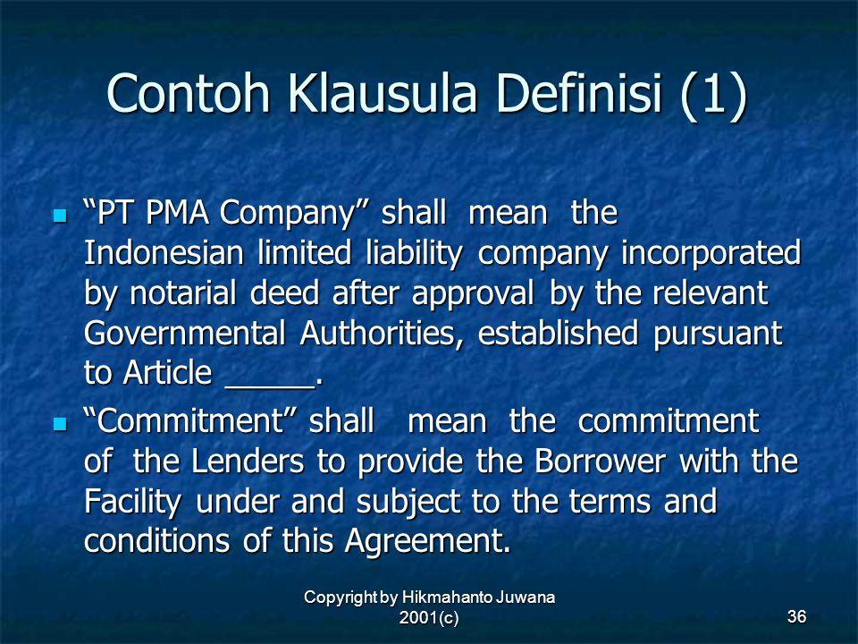 Contoh Klausula Definisi (1)