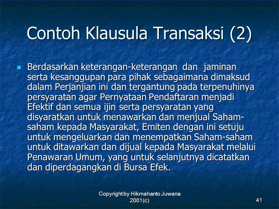 Contoh Klausula Transaksi (2)