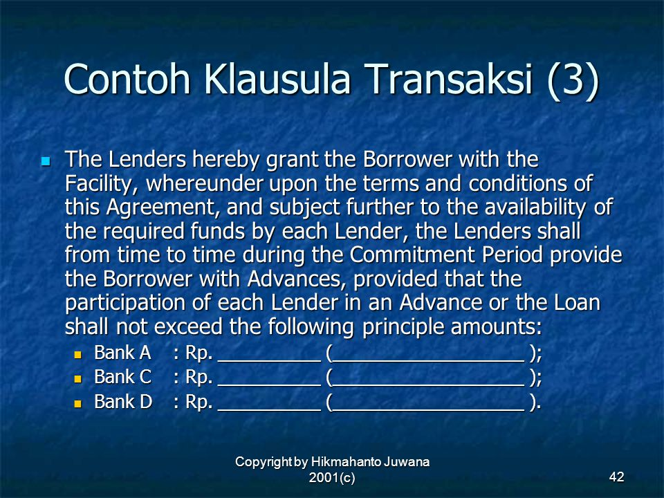 Contoh Klausula Transaksi (3)