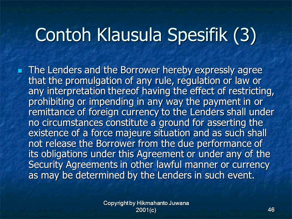 Contoh Klausula Spesifik (3)