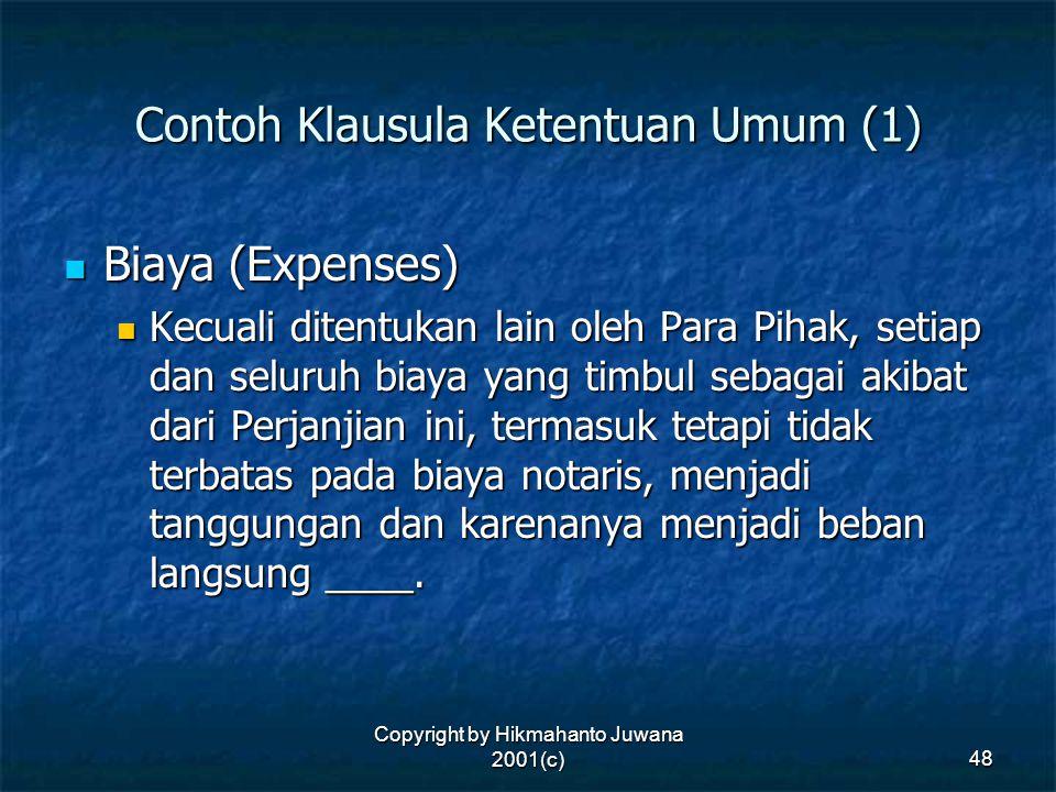 Contoh Klausula Ketentuan Umum (1)