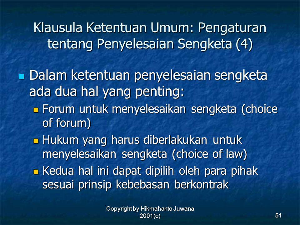 Klausula Ketentuan Umum: Pengaturan tentang Penyelesaian Sengketa (4)