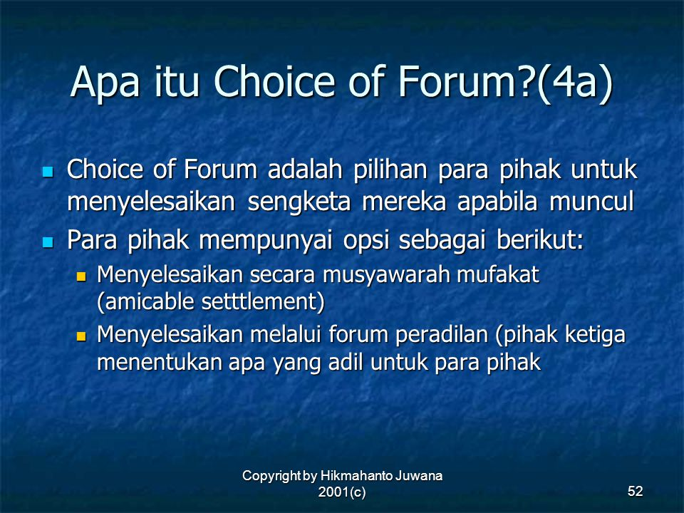 Apa itu Choice of Forum (4a)