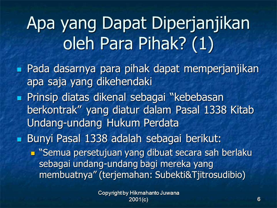 Apa yang Dapat Diperjanjikan oleh Para Pihak (1)