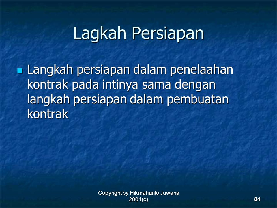 Copyright by Hikmahanto Juwana 2001(c)