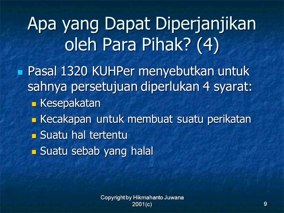 Apa yang Dapat Diperjanjikan oleh Para Pihak (4)