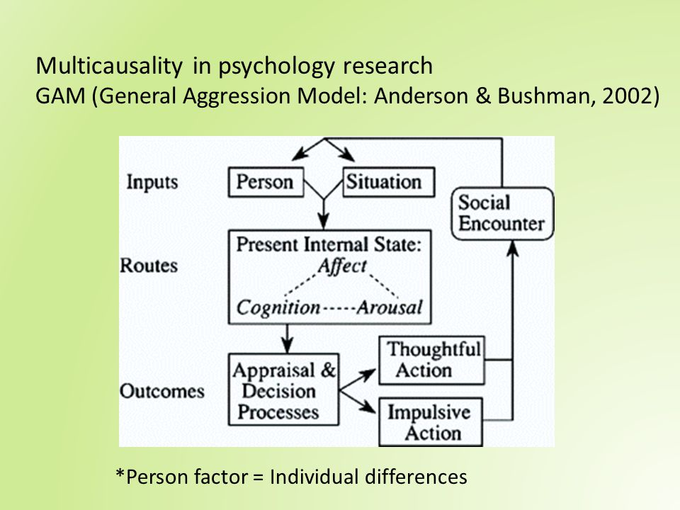 Multicausality in psychology research GAM (General Aggression Model: Anderson & Bushman, 2002)