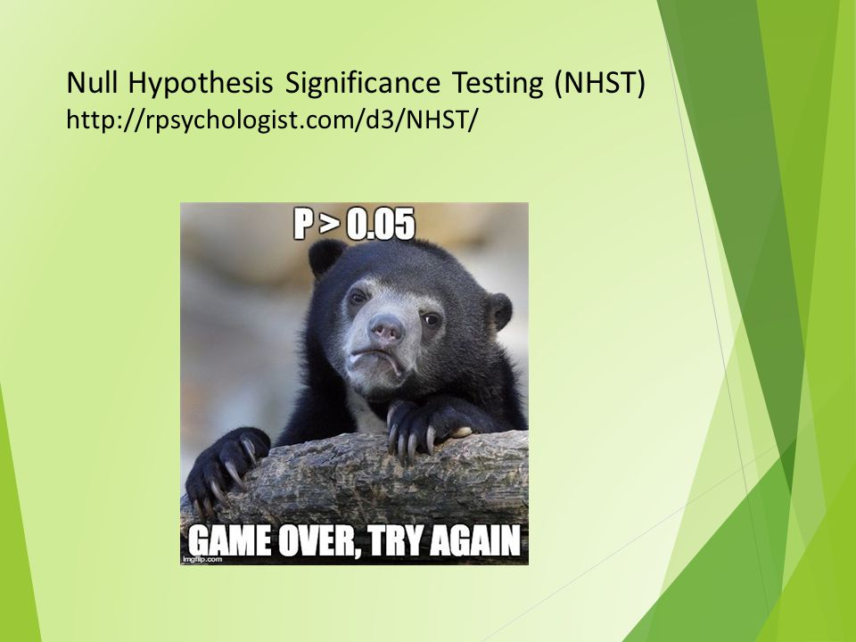 Null Hypothesis Significance Testing (NHST) http://rpsychologist