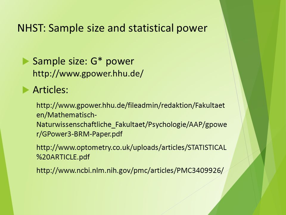 NHST: Sample size and statistical power
