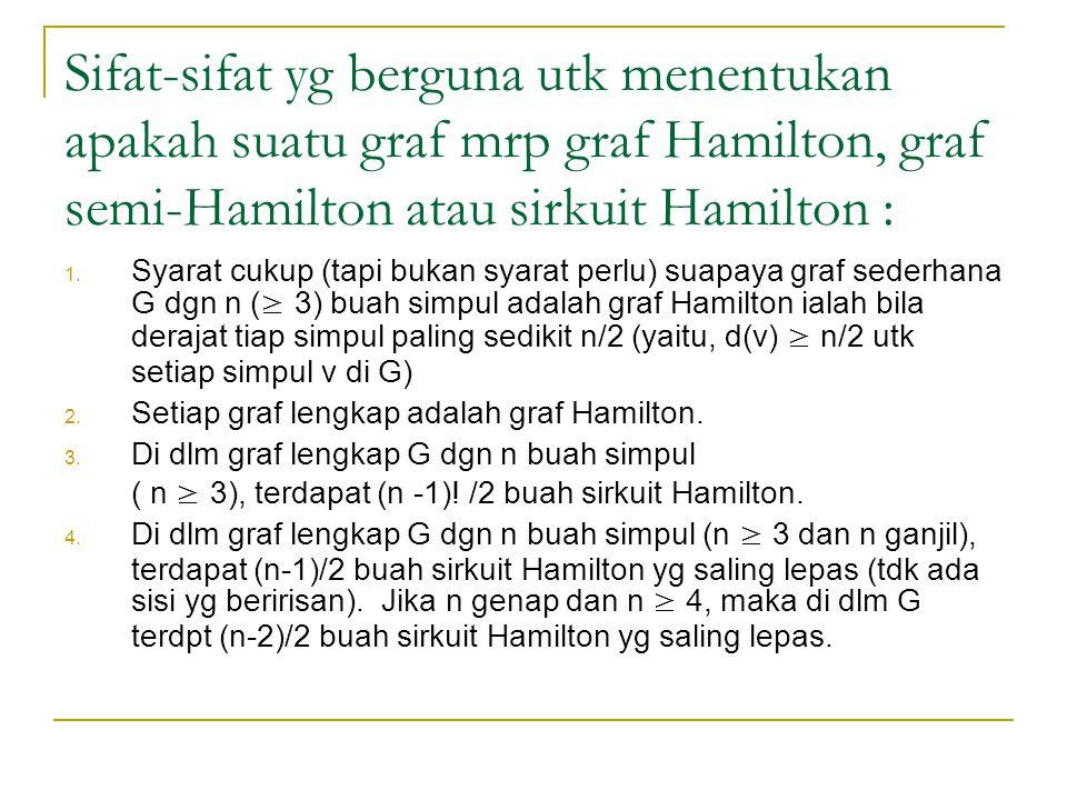 Sifat-sifat yg berguna utk menentukan apakah suatu graf mrp graf Hamilton, graf semi-Hamilton atau sirkuit Hamilton :
