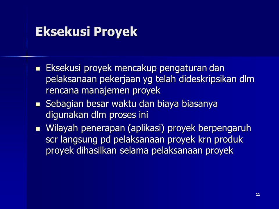 Eksekusi Proyek Eksekusi proyek mencakup pengaturan dan pelaksanaan pekerjaan yg telah dideskripsikan dlm rencana manajemen proyek.