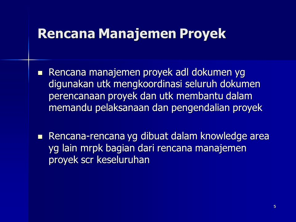 Rencana Manajemen Proyek