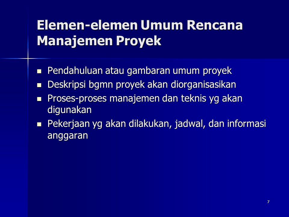Elemen-elemen Umum Rencana Manajemen Proyek