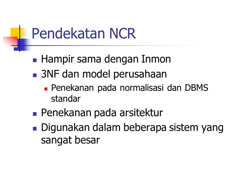 Pendekatan NCR Hampir sama dengan Inmon 3NF dan model perusahaan