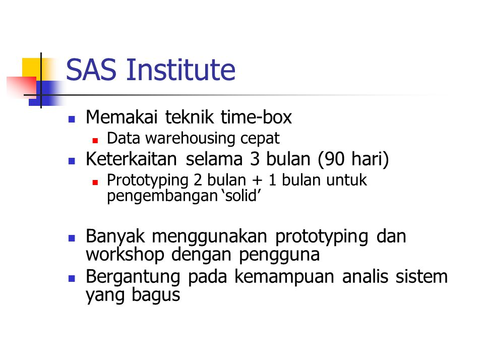 SAS Institute Memakai teknik time-box