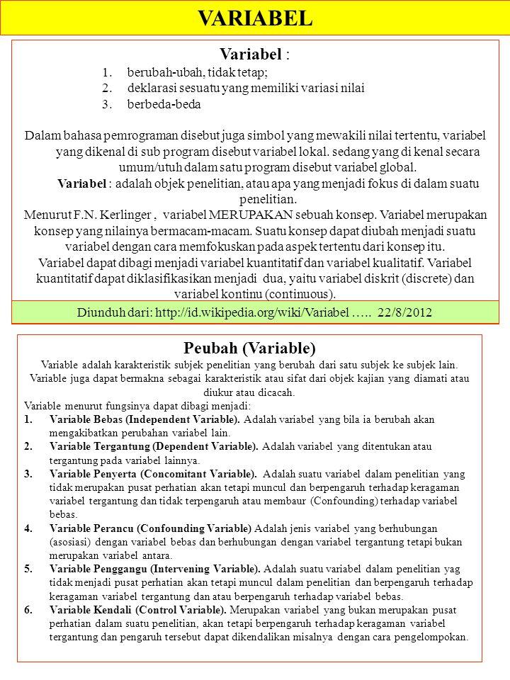 Diunduh dari: http://id.wikipedia.org/wiki/Variabel ….. 22/8/2012