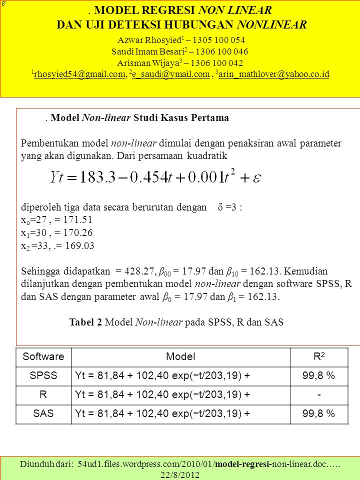 . MODEL REGRESI NON LINEAR DAN UJI DETEKSI HUBUNGAN NONLINEAR